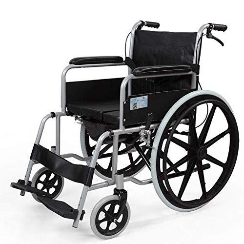 Gpzj Silla de Ruedas médica Plegable de Transporte Ligero con reposabrazos y Frenos de Mano Ajustables, Pedal Ajustable, Inodoro móvil, para Ancianos, recuperación de cirugía, discapacitados