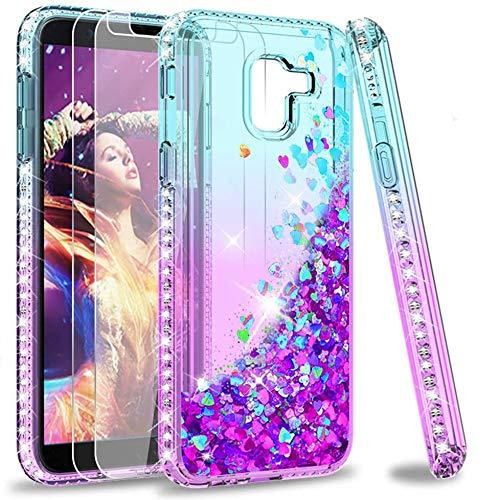 LeYi Hülle Galaxy J6 2018 Glitzer Handyhülle mit Panzerglas Schutzfolie(2 Stück),Cover Diamond Bumper Schutzhülle für Case Samsung J6 2018 Handy Hüllen ZX Gradient Turquoise Purple