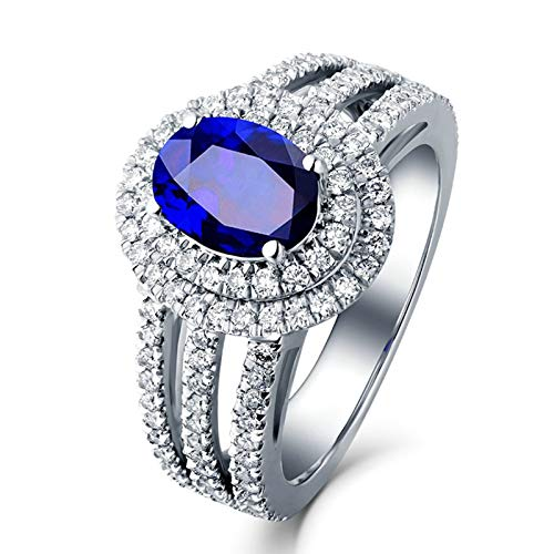 Adokiss Jewellery white gold ring 750, flowers with oval sapphire 1.11/1.37/1.57 ct engagement ring women's wedding rings vintage white gold birthday gifts for women 1.57ct