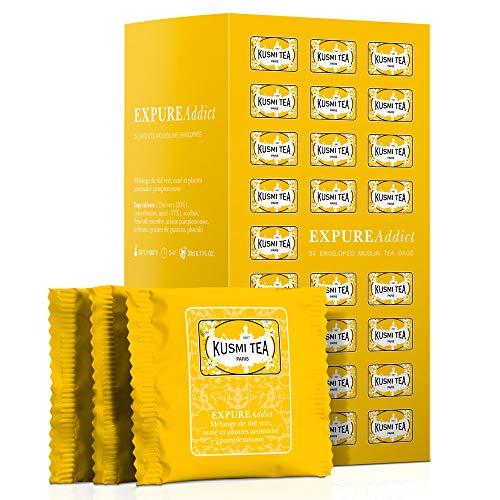 Kusmi Tea - Expure Addict - Grüner Tee mit Mate, Rooibos und Kräutern, aromatisiert - Grapefruit - 24 einzeln verpackte Teebeutel