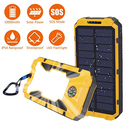 Solar Charger,Sethruki 10000mAh Battery Solar Power Bank Portable Panel Charger with 29 LEDs,Dual USB Output Ports External Backup Battery Pack for Camping Outdoor for iOS Android