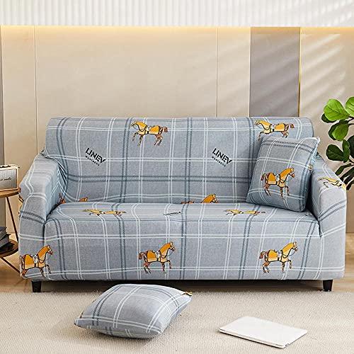 Funda Elástica para Sofá Impreso Gris-Plata 3 Plaza Universal Funda Cubre Sofas Ajustables Antideslizante Decorativas Protector Sofa de Muebles (195-230cm)