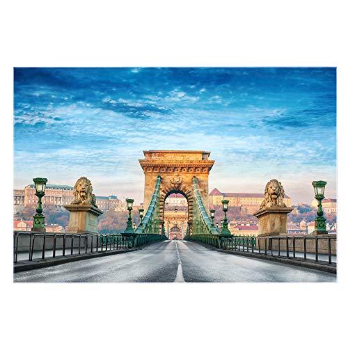 banjado Glas Nischenrückwand für Küche 90cm x 60cm | Küchenrückwand mit Motiv Kettenbrücke Budapest | Spritzschutz selbstklebend ohne Bohren | Fliesenspiegel magnetisch und beschreibbar