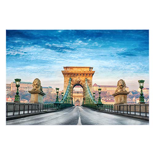 banjado Glas Nischenrückwand für Küche 90cm x 60cm   Küchenrückwand mit Motiv Kettenbrücke Budapest   Spritzschutz selbstklebend ohne Bohren   Fliesenspiegel magnetisch und beschreibbar