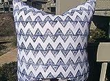 Ol322ay Kari Fisher Kissenbezug, Marineblau/Weiß, Rückseite aus Leinen, Baxter-Muster