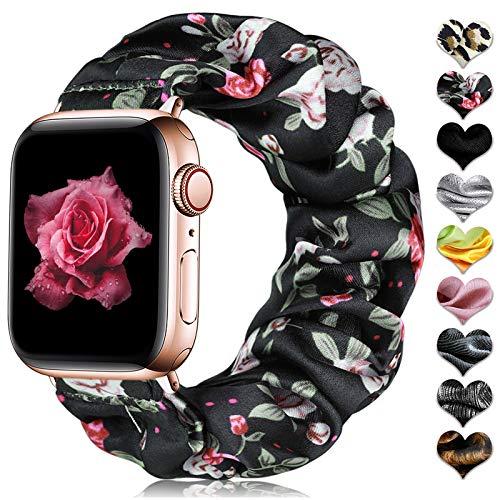 CeMiKa Scrunchie Bracelet de élastique Compatible avec Apple Watch Bracelet 38mm 40mm 42mm 44mm, Bracelet en Tissu Imprimé à Motif Compatible avec iWatch Séries 6 5 4 3 2 1/Se, 38mm/40mm-S/M Fleur
