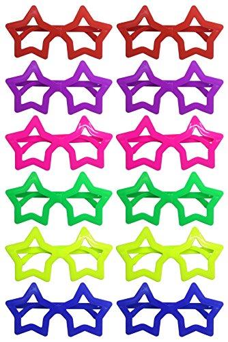 iLoveCos Mode Star Shaped Shutter Shades Brille Gläser Sonnenbrille für Kostüm Party Club Tanz Props 6 Farben, 12 Paar (Star)