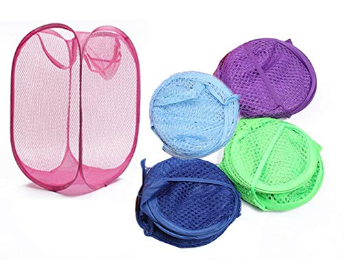 JISFG Lironuker 5-Pack Strong Mesh Pop-up Laundry Hamper Mesh Folding Pop-Up Clothes Hampers for The for Clothes Laundry - Kids Room College Dorm or Travel