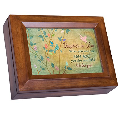 Cottage Garden Daughter-in-Law Won Heart We Love You Woodgrain Digital Keepsake Music Box Plays My Wish
