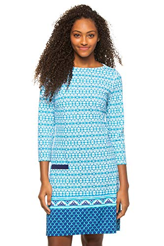 Cabana Life Women's Cabana Long Sleeve Shift Dress Swim Cover Up Blue Print M
