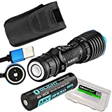 EdisonBright Olight Warrior X USB Rechargeable 2000 Lumen CREE LED Tactical Flashlight, Rechargeable Battery, Magnetic Charging Cable Cable Carry case Bundle