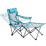 Portable Camping Chair with Footrest Mesh Folding Reclining Chair for Adults...