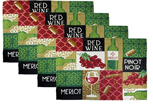 Woven Tapestry Wine Cheese, and Grapes Place Mats - Set of 4 (Squares - Red Wine, Merlot, Pinot Noir)