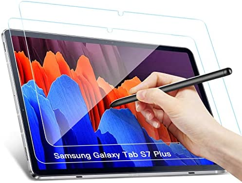 [2 Pack]Benazcap Screen Protector Compatible with Samsung Galaxy Tab S7 FE 2021/Galaxy Tab S7 Plus 12.4 inch,Tempered Glass/Anti-Scratch/Easy Installation