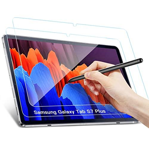 Benazcap Panzerglas Schutzfolie für Samsung Galaxy Tab S7 FE 2021 & S7+ 12.4 Zoll 2020, Anti-Bläschen, Anti-Kratzer Schutzfolies für Samsung Galaxy Tab S7 FE 2021 & S7 Plus 12.4, 2 Stück