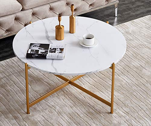 Scandinavian Imitation Marble Coffee Table Bedroom Living Room Sofa Side Balcony Stylish Metal Frame Easy to Clean The Best Choice Small Round Table