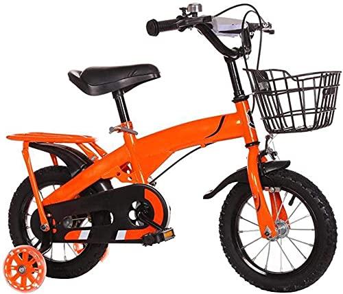 Bicicleta infantil para niñas y niños de 2 a 10 años de edad 12 14 16 18 pulgadas Bicicleta infantil con ruedas de entrenamiento y frenos de mano 4 colores-naranja_60 cm