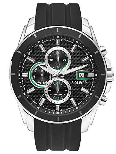 s.Oliver Herren Multi Zifferblatt Quarz Uhr mit Silikon Armband SO-3755-PM