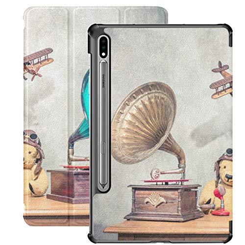 Funda para Samsung Galaxy Tab S7 y S7 Plus, diseño de Gramófono antiguo con bocina, para Samsung Galaxy Tab S7 de 11 pulgadas S7 Plus de 12,4 pulgadas