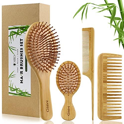 MRD Juego de brochas y peines de bambú con cepillo para desenredar paletas natural sin cerdas, para mujeres, hombres y niños, kit de regalo de pelo grueso, fino/rizado/seco (4 piezas)