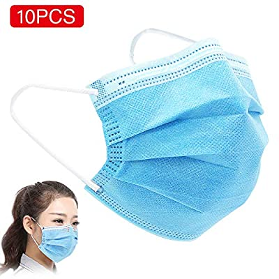 DTBG Disposable Face Masks 3 Layer Clear Facial Cover,10 Packs
