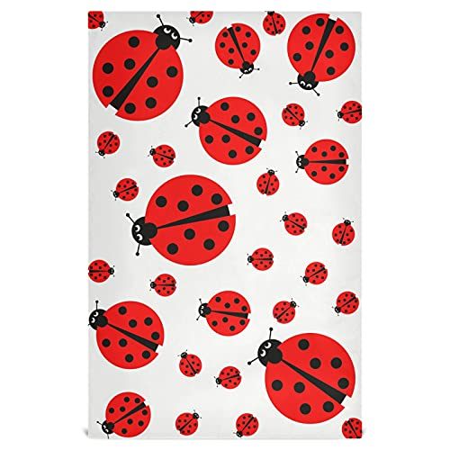 Naanle Red Ladybug Toallas de cocina 1 paquete de paños de limpieza reutilizables absorbentes de secado rápido toallas de mano Toallas de té Toallas de bar para el hogar 28 x 18 pulgadas
