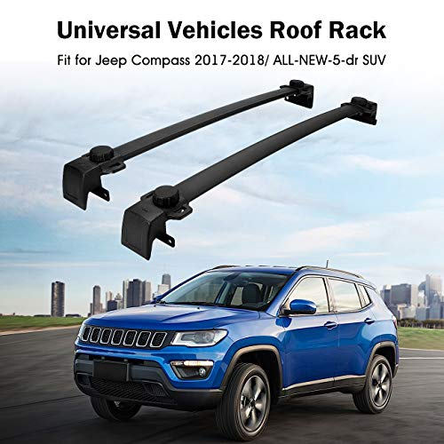 Partol Roof Rack Cross Bars for 2017 2018 Jeep Compass, All-NEW-5-dr SUV Luggage Rail Crossbars Luggage Carrier with Side Rails (1 Pair, Black)