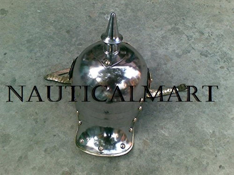 NauticalMart Pickle Haube German Helmet W silver Finish
