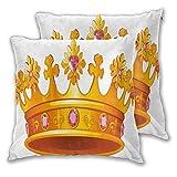 NUXIANY Funda de Cojines Cuadrado Tiara de Corona de Reina con Estampado de Gemas Fundas de Almohada Decorativas para la Granja,Sofá,Niños,Interiores y Exteriores 50x50cm