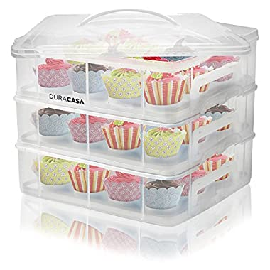 DuraCasa Cupcake Carrier, Cupcake Holder - Store up to 36 Cupcakes or 3 Large Cakes | Stacking Cupcake Storage Container | Cupcake, Cookie, Muffin or Cake Dessert Carrier (3 Tier White)