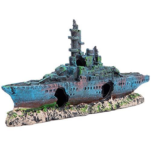 SLSON Aquarium Decorations Shipwreck,Fish Tank Battleship Ornament Resin Warship Boat Decor,9 inch L x 4 inch Height