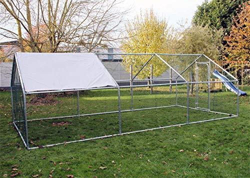 Wiltec Freilaufgehege Außengehege Voliere Hühnerstall Hasenstall Kleintiergehege 6x3x2m Sonnendach