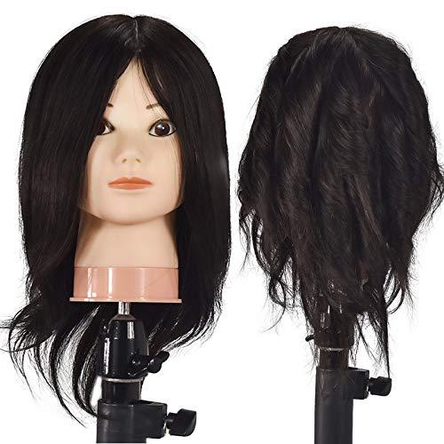 ErIsMan Cabeza de maniquí de cosmetología femenina profesional con 100% cabello humano real, trenzado de 18 pulgadas, cabeza de entrenamiento de peluquería, cabeza de muñeca con abrazadera