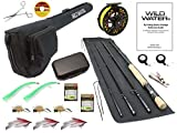 Wild Water Fly Fishing Fortis Series CNC Machined Fly Reel, 9 Foot, 4-Piece, 9/10 Weight Fly Rod Complete Fly Fishing Rod and Reel Combo Starter Package with Saltwater Flies