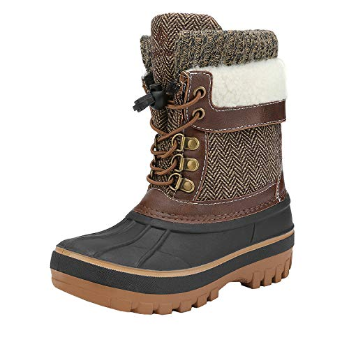 DREAM PAIRS Boys Girls Cold Weather Insulated Waterproof Winter Snow Boots Size 13 M US Little Kid KMONTE-1 Brown