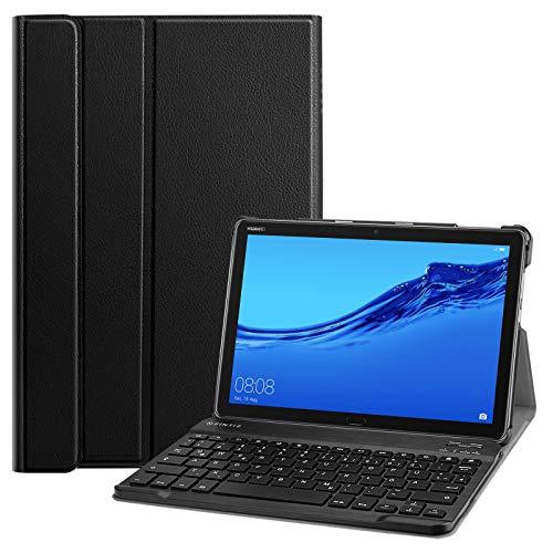Fintie Tastatur Hülle für Huawei MediaPad M5 Lite 10.1 Zoll - Ultradünn leicht Schutzhülle Keyboard Case mit magnetisch Abnehmbarer Bluetooth Tastatur mit QWERTZ Layout, Schwarz