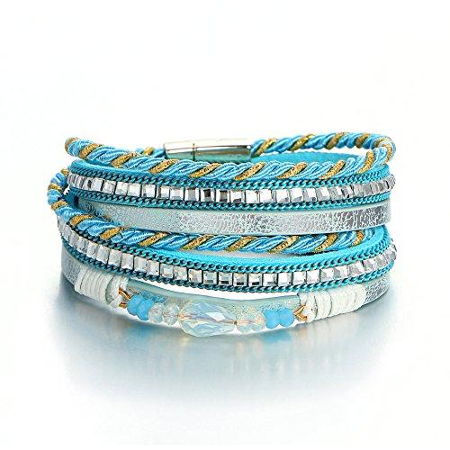 Europese en Amerikaanse nieuw meerlaags leer geweven volle diamanten armband mode diamant magneet armband