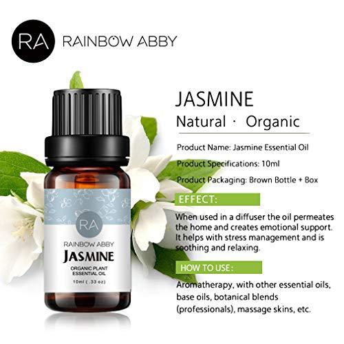 Jasmine Essential Oil Aceite de aromaterapia 100% puro para jabones, velas, masajes, cuidado de la piel, perfumes - 10 ml