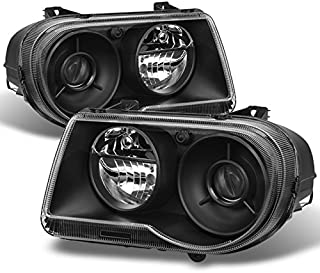 For Black Bezel 05-10 Chrysler 300C Headlights Front Lamps Direct Replacement Pair Left + Right