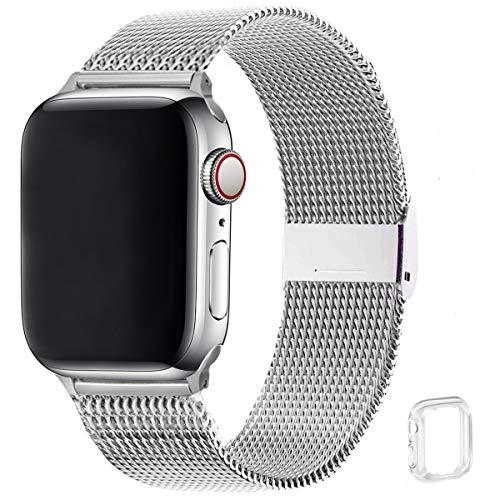 WFEAGL コンパチブル apple watch バンド, コンパチブルiWatch通用ベルト apple watch 6/5/4/3/2/1, SEに対応 交換ベルトステンレス製 (42mm 44mm, シルバー)