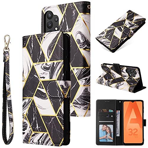 TOPOFU Funda Tipo Libro para Samsung Galaxy A32 4G, [Billetera Cuero de la PU] Carcasa Magnética con Tapa Abatible y Ranuras para Dinero y Tarjeta de Crédito-Negro