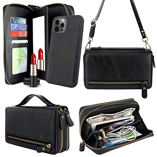 Harryshell Compatible with iPhone 12 Pro Max 6.7 inch 2020 Case Wallet Multi Zipper Detachable Magnetic Cover Clutch Purse Bag with Card Slots Mirror Crossbody Chain Wrist Strap (Black)