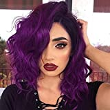 Short Curly Wavy Wig 14 Inch Middle Part Wig Purple Color Wig for Women Colored Halloween Full Cosply Wig Synthetic Shoulder Length Heat Resistant Hair Natural Looking Wig