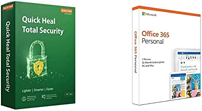 Quick Heal Total Security Latest Version - 1 PC, 1 Year (DVD)&Microsoft Office 365 Personal for 1 user (Windows/Mac), 12 month/1 Year (Activation Key Card)