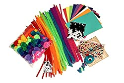 Fun Craft Kit – Kaleidoscope Assortment of Rainbow Pompoms, Pipe Cleaners, Sticky Googly Eyes, Foam Pages, Craft Sticks, Glittery Gem Stickers