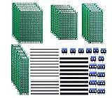 Jooheli 100PCS Kits de Placa de PCB,30 Placa de Circuito Impreso de Doble Cara Placa de Circuito Placa Perforada+30 Encabezado+10 Terminales de Tornillo+30 Tapas de Puente