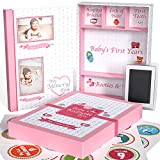 Little Growers Baby Memory Book WITH Keepsake Box, Baby Milestone Stickers AND Baby Footprint Kit - First 5 Years New Baby Scrapbook AND Photo Album, 5 Baby Shower Gifts in 1, for Newborn Girl