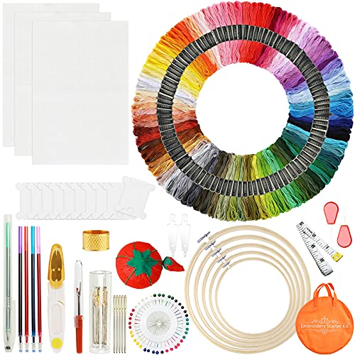 MOOING Kit completo de bordado de 205 piezas,Kit de Herramienta de Punto de Cruz aros de bordado de 5 piezas,hilos de 100 colores, Telas de Punto de Cruz,Kit de Inicio de Bordado