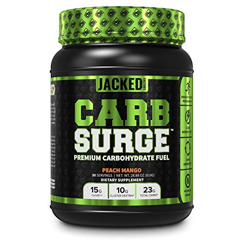 Carb Surge Carbohydrate Powder - Clean Workout Fuel w/ Carb10 Pea Starch & Cluster Dextrin for Enhanced Performance, Lean Muscle Mass, and More - Peach Mango Flavor, 30 SV