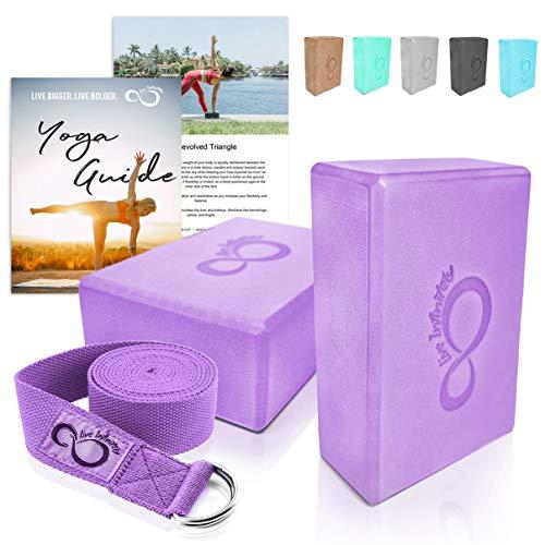 Premium Yoga Blocks & Metal D Ring Strap Yogi Set (3PC) 2 Pack High Density EVA Foam Blocks to Support & Deepen Poses, Improve Strength & Flexibility- Lightweight, Odor & Moisture Resistant (Purple)